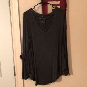 Cage Front Long Sleeve American Eagle Top
